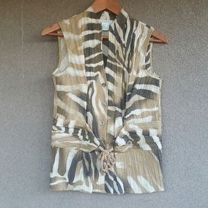 Spanner Fancy Animal Abstract Blouse Ladies Size 8